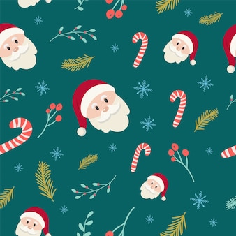 The santa claus and hand drawn plants pattern.