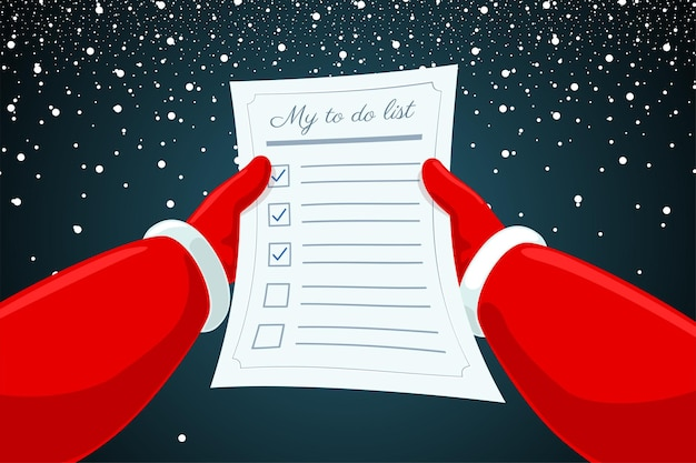 Santa claus hands holding and reading letter to do list paper on snowy background christmas and