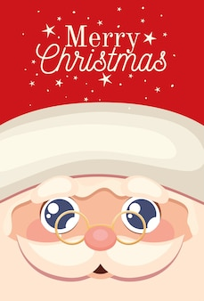 Santa claus happy face  with merry christmas lettering and eyeglasses  illustration