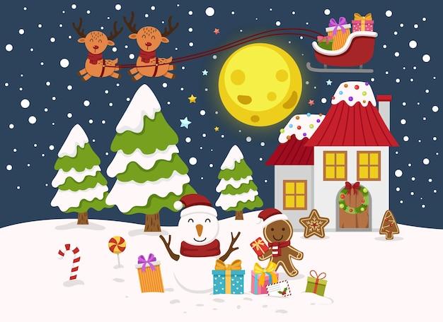 산타 클로스 새 해 복 많이 받으세요 그리고 메리 크리스마스 일러스트 벡터
