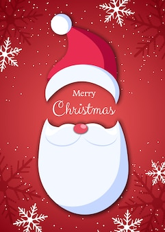 Santa claus in hat on red background. santa claus with white beard and mustache in origami style. vector