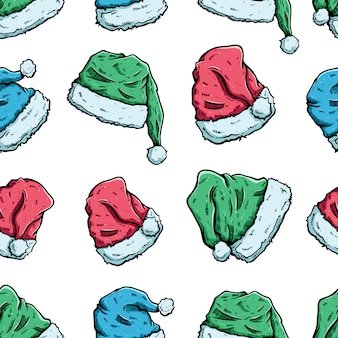 Santa claus hat in seamless pattern with colored sketch or hand drawn style