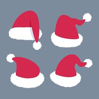 Santa claus hat   set  on background.