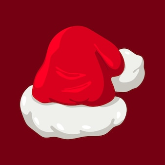 Santa claus hat vector illustration isolated on a red background.