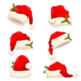 홀리 베리 잎이 있는 산타클로스 모자. 벡터 만화 크리스마스 모자 그림 흰색 배경에 고립.