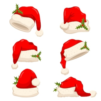 Santa claus hat with holly berry leaves set. vector cartoon christmas cap illustration isolated on a white background.