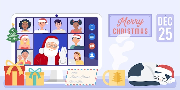 Santa claus having video conference on computer with children at home.