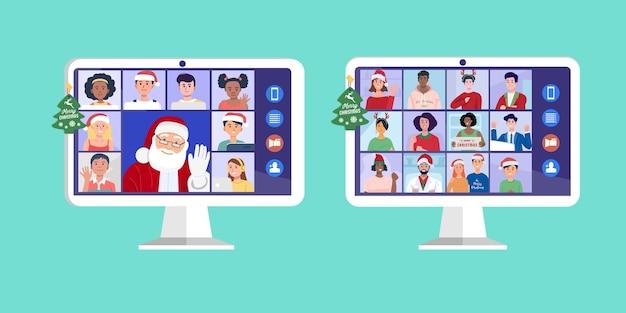 自宅で子供たちとコンピューターでビデオ会議をしているサンタクロース。