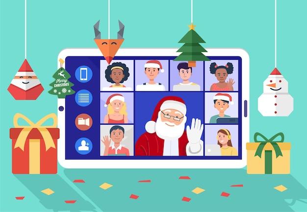 집에서 아이들과 함께 컴퓨터에 화상 회의를 갖는 산타 클로스