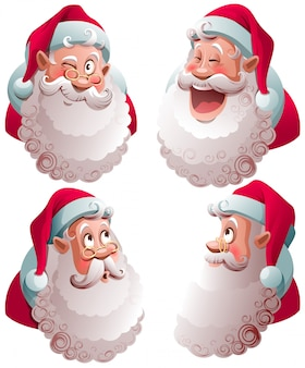 Santa claus head set isolated vector illustration