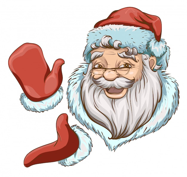 Santa claus head and two hands in red mittens