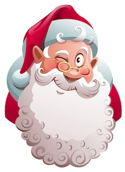Santa claus head winks. merry christmas fun