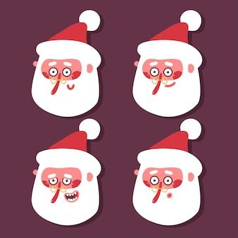 다른 감정 벡터 만화 세트 배경에 고립 된 산타 클로스 머리.