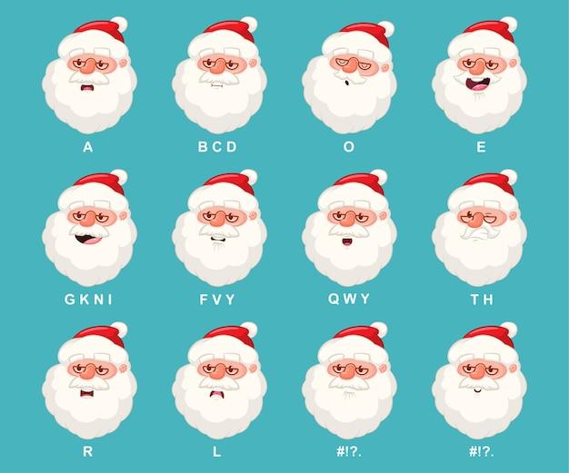 Голова санта-клауса с анимацией рта. мультяшный рождественский персонаж с набором значков синхронизации губ, изолированных на фоне.