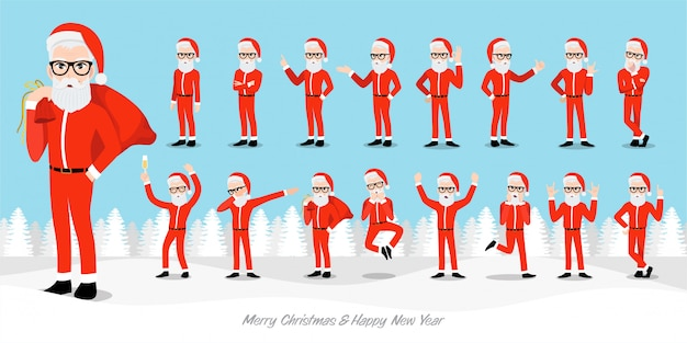 Santa claus hipster cartoon character set. handsome christmas man in christmas and happy new year festival.