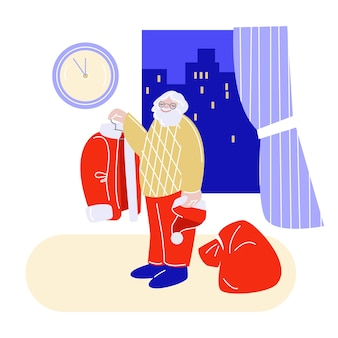 Santa claus in his apartment dressed to deliver gifts