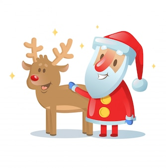 Santa claus and his reindeer friend smiling. cartoon christmas card. illustration. isolated on white
