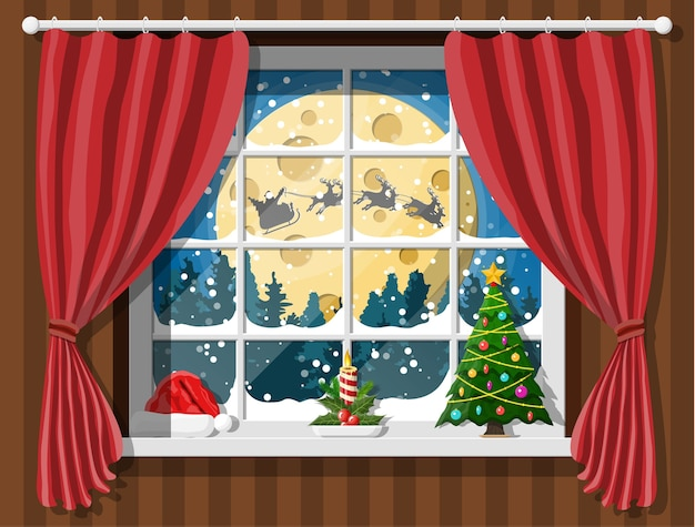 Santa claus and his reindeer in window. interior of room with christmas tree. happy new year decoration. merry christmas holiday. new year and xmas celebration.