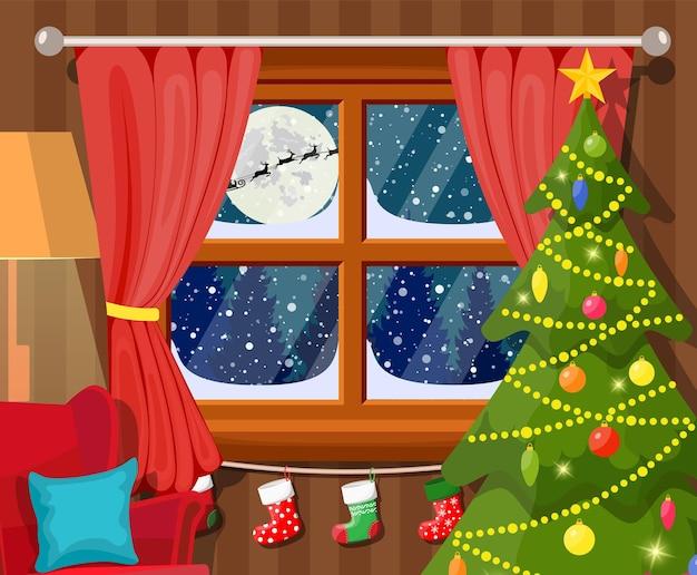 Santa claus and his reindeer in window.