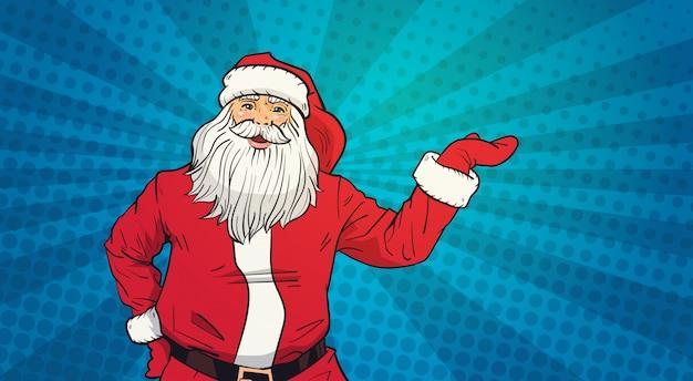 Санта клаус держит открытую ладонь, чтобы скопировать пространство в стиле поп арт