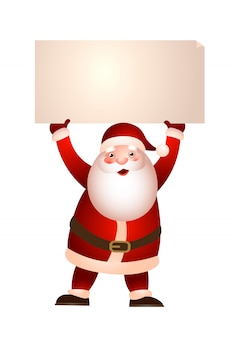 Santa claus holding banner illustration