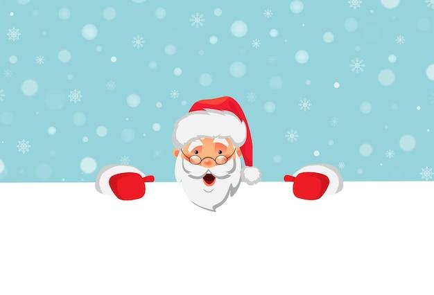 Санта-клаус держит большое знамя. рождественский пустой рекламный баннер. с новым годом фон. санта-клаус векторные иллюстрации.
