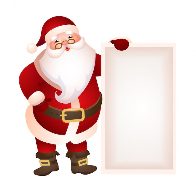 Santa claus holding blank banner illustration