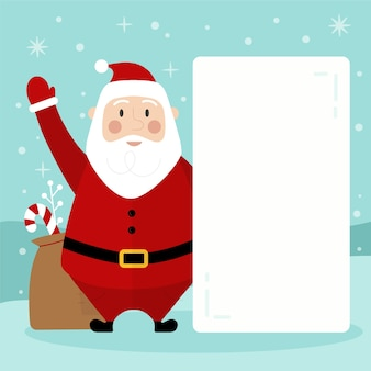 Santa claus holding blank banner