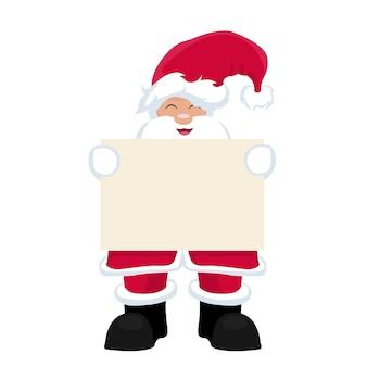Santa claus holding blank poster