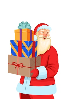 Santa claus holding christmas presents isolated on a white background.