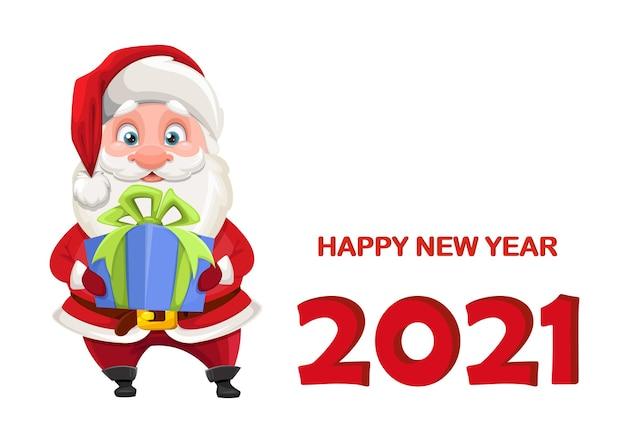 Санта-клаус держит подарочную коробку. веселый санта мультипликационный персонаж