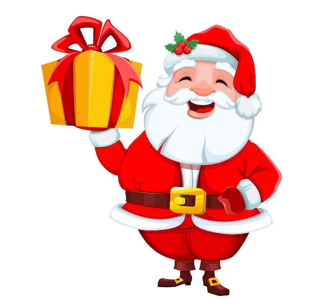 Santa claus holding gift box merry christmas and happy new year