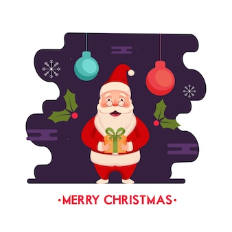 Santa claus holding gift box with holly berries and hanging baubles on purple and white background for merry christmas celebration.
