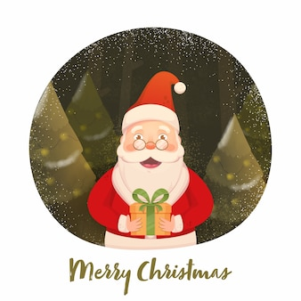 Santa claus holding a gift box with xmas trees, noise effect and snowfall on olive and white background for merry christmas.
