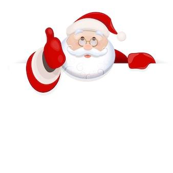 Санта-клаус держит чистый лист для текста и показывает палец вверх