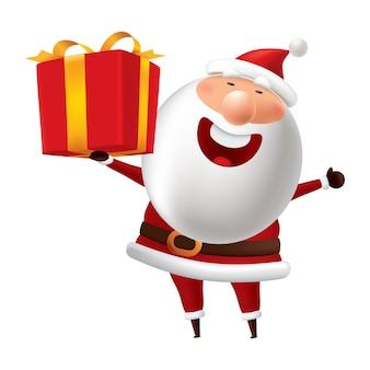 Santa claus holds a gift box.