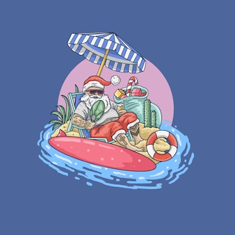 Santa claus on holiday illustration