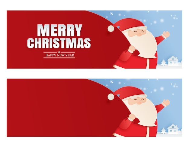 Santa claus and a huge bag of gifts with merry christmas and happy new year greeting card.