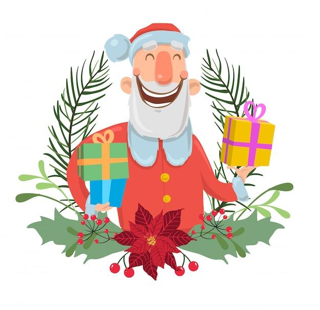 크리스마스 화 환에 산타 클로스입니다. 그림, 흰색 배경입니다. 산타는 다채로운 상자에 선물을 가져옵니다.