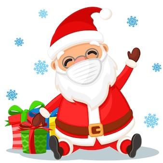 흰색 배경에 선물이 있는 의료용 얼굴 마스크를 쓴 산타클로스가 앉아 있습니다. 새해 복 많이 받으시고 즐거운 성탄절 보내세요