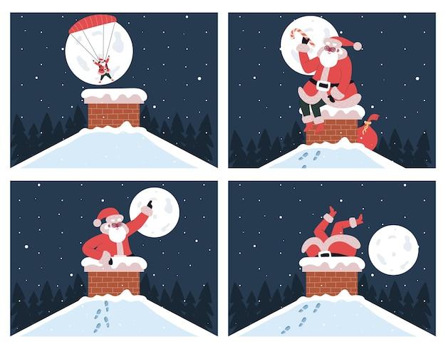 굴뚝에 산타 클로스입니다. 굴뚝에 갇힌 귀여운 산타클로스는 낙하산 벡터 삽화를 들고 굴뚝으로 뛰어듭니다. 크리스마스 선물 배달