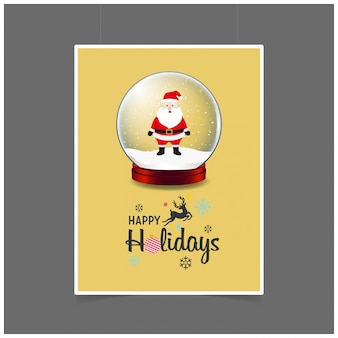 Santa Claus in Christmas Ball Happy Holiday Christmas background