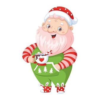 Санта-клаус в домашнем костюме пьет сладкий напиток. векторные иллюстрации шаржа