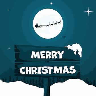 Санта-клаус в ночной сцене с его санями и рождественскими оленями