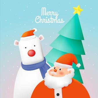 눈과 눈송이 배경 일러스트와 함께 종이 아트 스타일에 산타 클로스