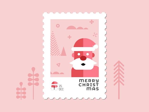 Санта-клаус в красных тонах - рождественская марка плоский дизайн для поздравительной открытки и многоцелевой