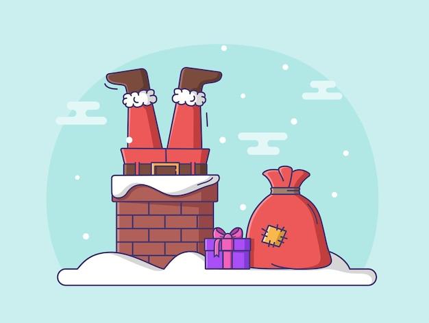 Дед мороз в дымоходе. векторная иллюстрация персонажа в современном стиле.