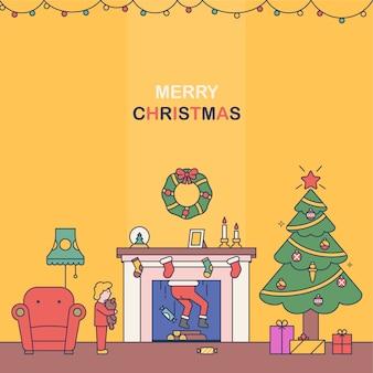 暖炉のサンタクロース。クリスマスをテーマにフラットスタイルのイラスト