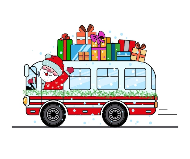 Santa claus is carrying gifts on the roof of the christmas bus.