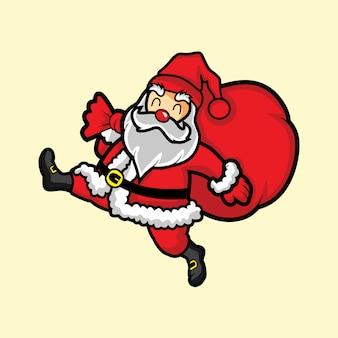 Санта-клаус жизнерадостный с рождественским подарком